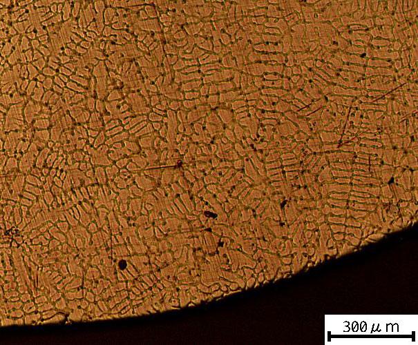 微細化した地金の顕微鏡写真
